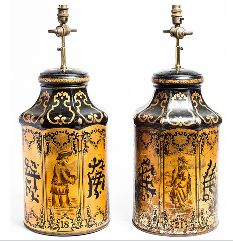 Tin Chinoiserie Tea Lamps - Pair