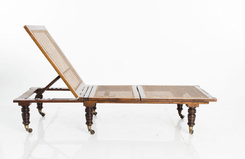 Antique Edwardian Chaise Lounges with Woven Cane Seat