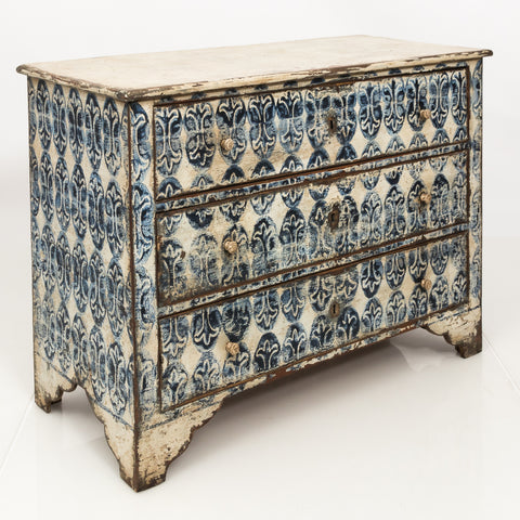 Painted chest with White and Blue Decorative Motif