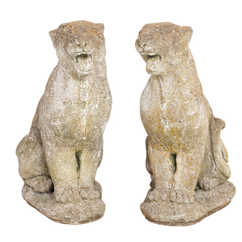 Vintage Roaring Panther Garden Statues