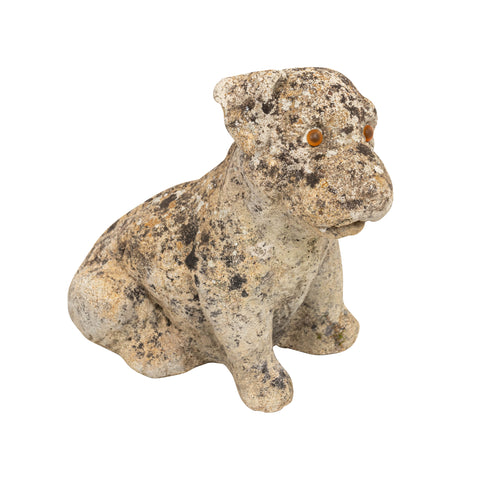 Antique Cast Stone Puppy Garden Ornament
