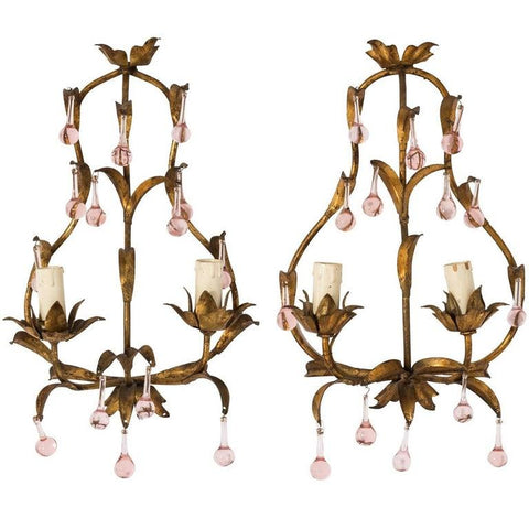 Pink Crystal Sconces