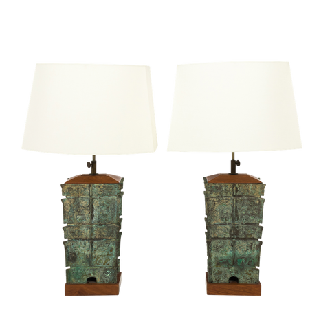 Pair of Asian Bronze Lamps, circa 1910