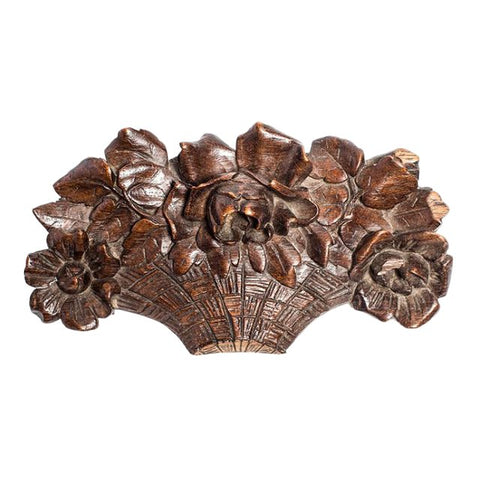 Antique Carved Wood Flower Basket Architectural Wall Element