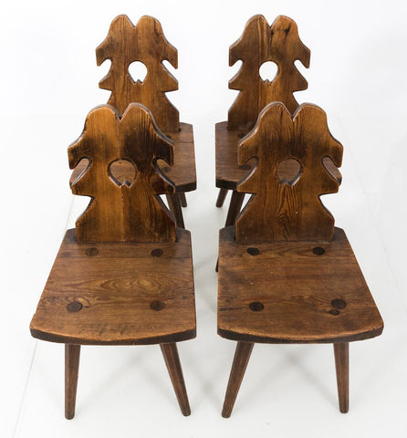 Set of four English Arts & Crafts chairs.