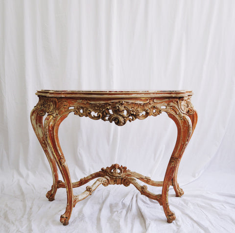 Gilt Italian console with inset Pink marble top