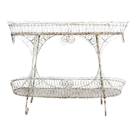 Victorian Scroll Wire Two-Tier Display Plant Stand