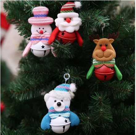 Cute Santa Claus, Snowman, Elk, Bear Christmas Jingle Bell Ornaments - 1 piece - Go Jingle Bells
