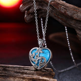 """The Turquoise Heart"" Pendant Necklace - White Gold or Black Gold by Top class Crafts Men - Go Jingle Bells"