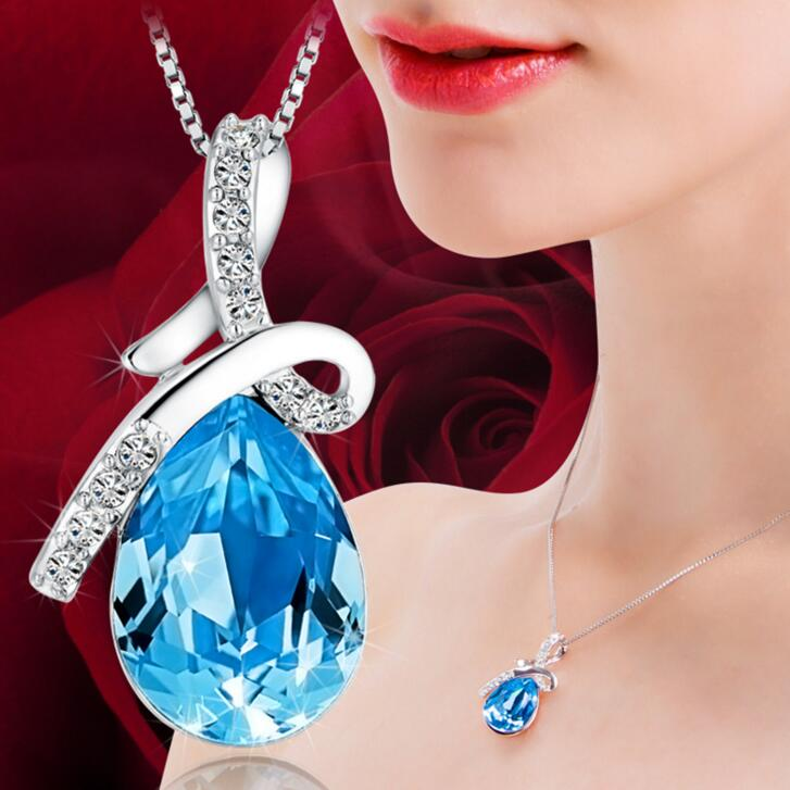 925 Silver Women Pendant Necklace Fashion Blue Crystal Drop Shape Short Chain NW - Go Jingle Bells