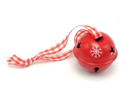 Red Metal Snow Flake Jingle Bells for Christmas Tree Decoration etc - 40 pieces - Go Jingle Bells