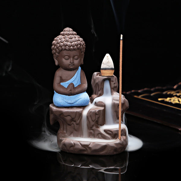 """The Peace"" Buddha themed waterfall simulated Incense stick burner + FREE 100 pieces incense sticks - Go Jingle Bells"