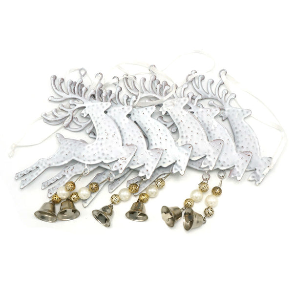 White ReinDeer and Metal Bell - 6 pieces - Go Jingle Bells