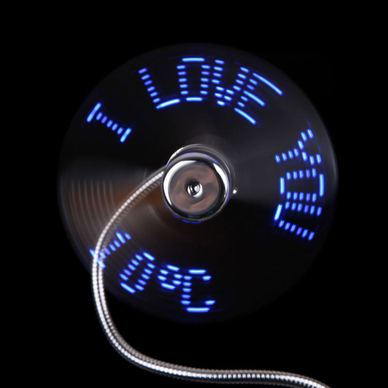 USB Powered - LED Display Fan - I Love You and Temperature Display - Flexible - Soft Blades - Go Jingle Bells
