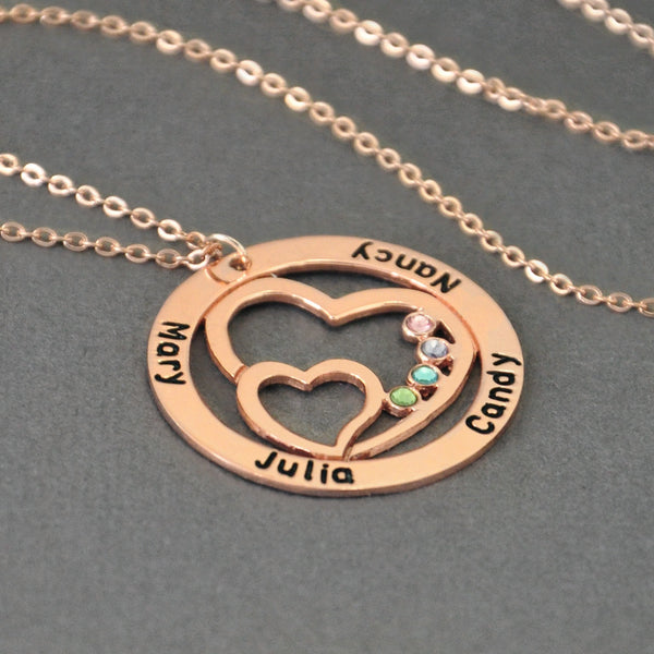 Customizable Love Circle Family Pendat + Names + Birth Stones - Go Jingle Bells