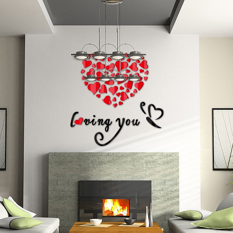 Hot Selling Product : Love 3D Sticker - Acryllic Miror -  Living Room : DIY - Go Jingle Bells