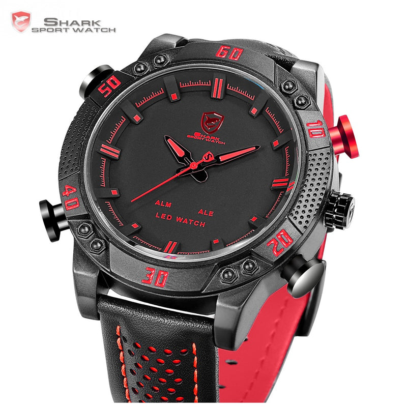 """The Finner"" Sports Watch - Black & Red Theme + Digital + Analog + Leather - Go Jingle Bells"