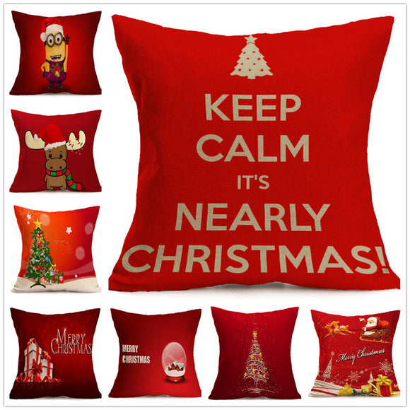 Christmas Decorations - Cushion Pillow Case - Jute - Go Jingle Bells