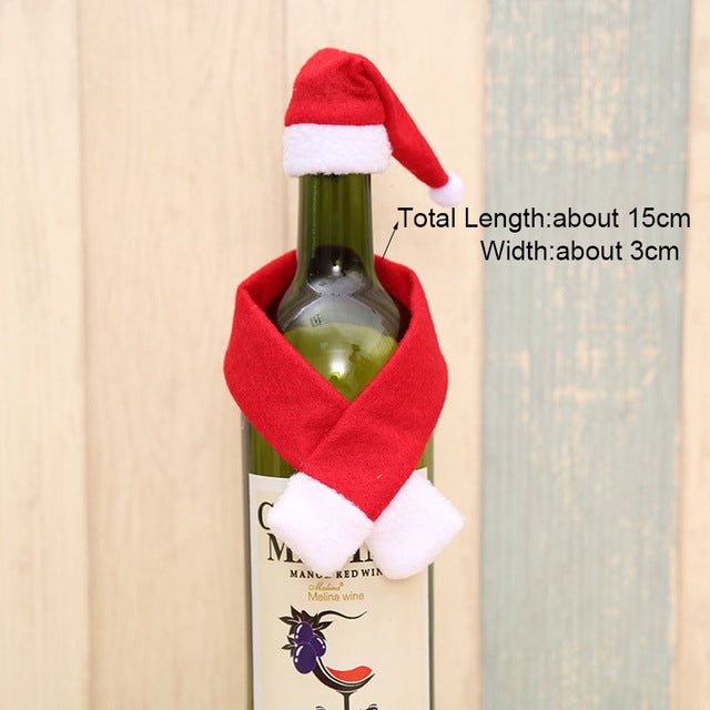 Christmas Wine Bottle Decor Set - Santa Claus - Snowman Deer - Kitchen Decoration for New Year - Xmas Dinner Party - Go Jingle Bells