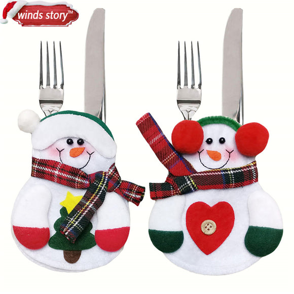 SnowMan Kitchen Tableware for Christmas Decorations - Tableware Holder bags - Quantity - 12 Pieces + Free Shipping - Go Jingle Bells