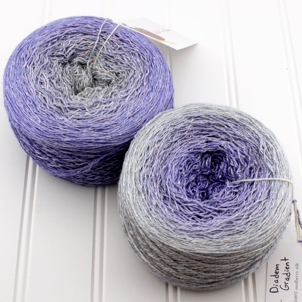 Silk Lace Gradient yarn: Diadem.  Hand dyed silver and purple yarn.