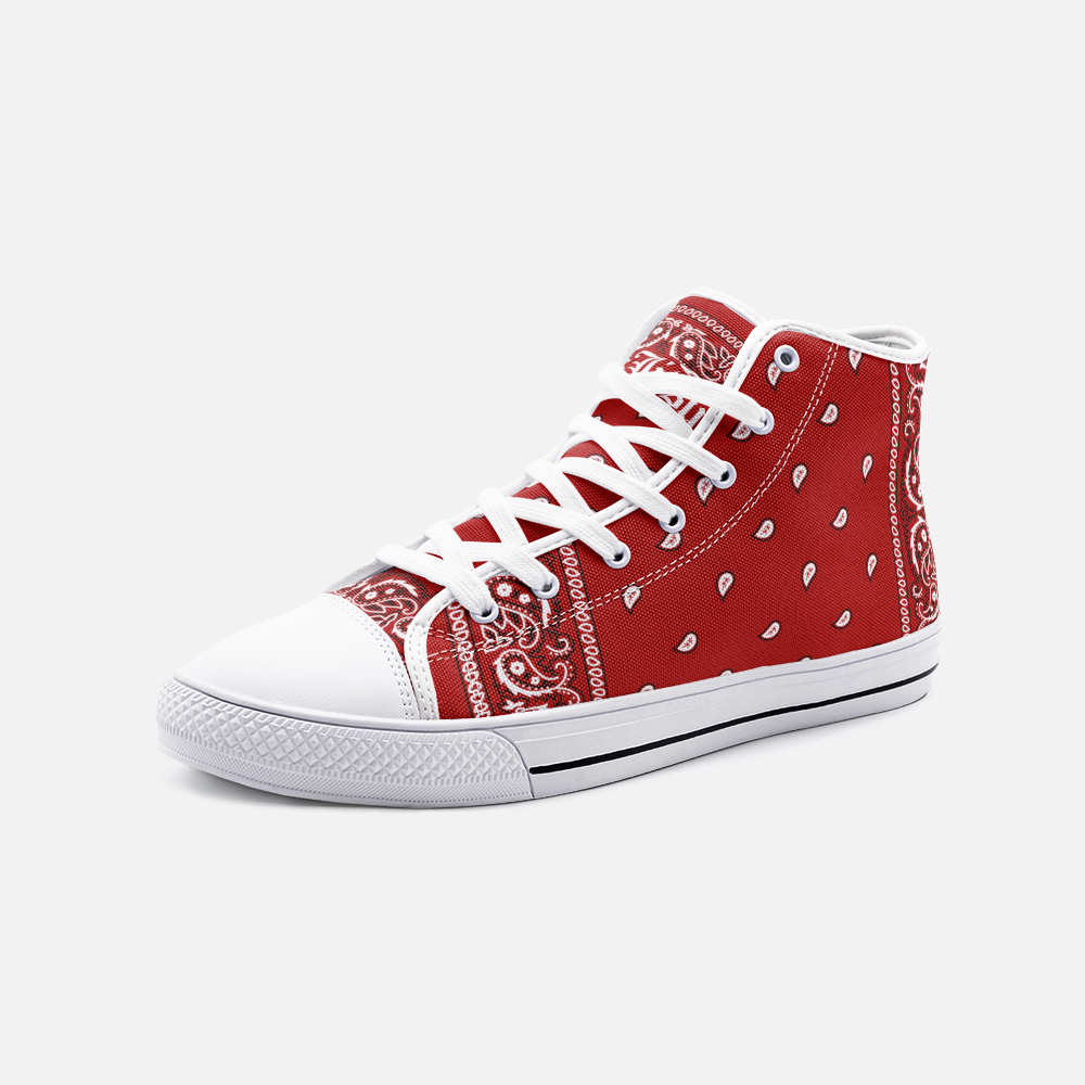 Red Bandana Print High Top Chuck Style Shoes