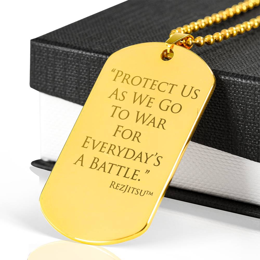 Protect Us Dog Tag and Necklace