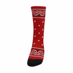 Bandana Print Crew Socks - Red