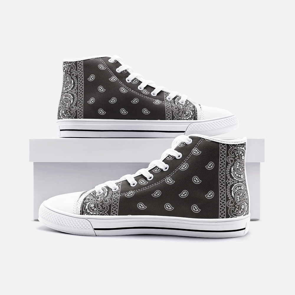 Black Bandana Print High-Top Chuck Style Shoes