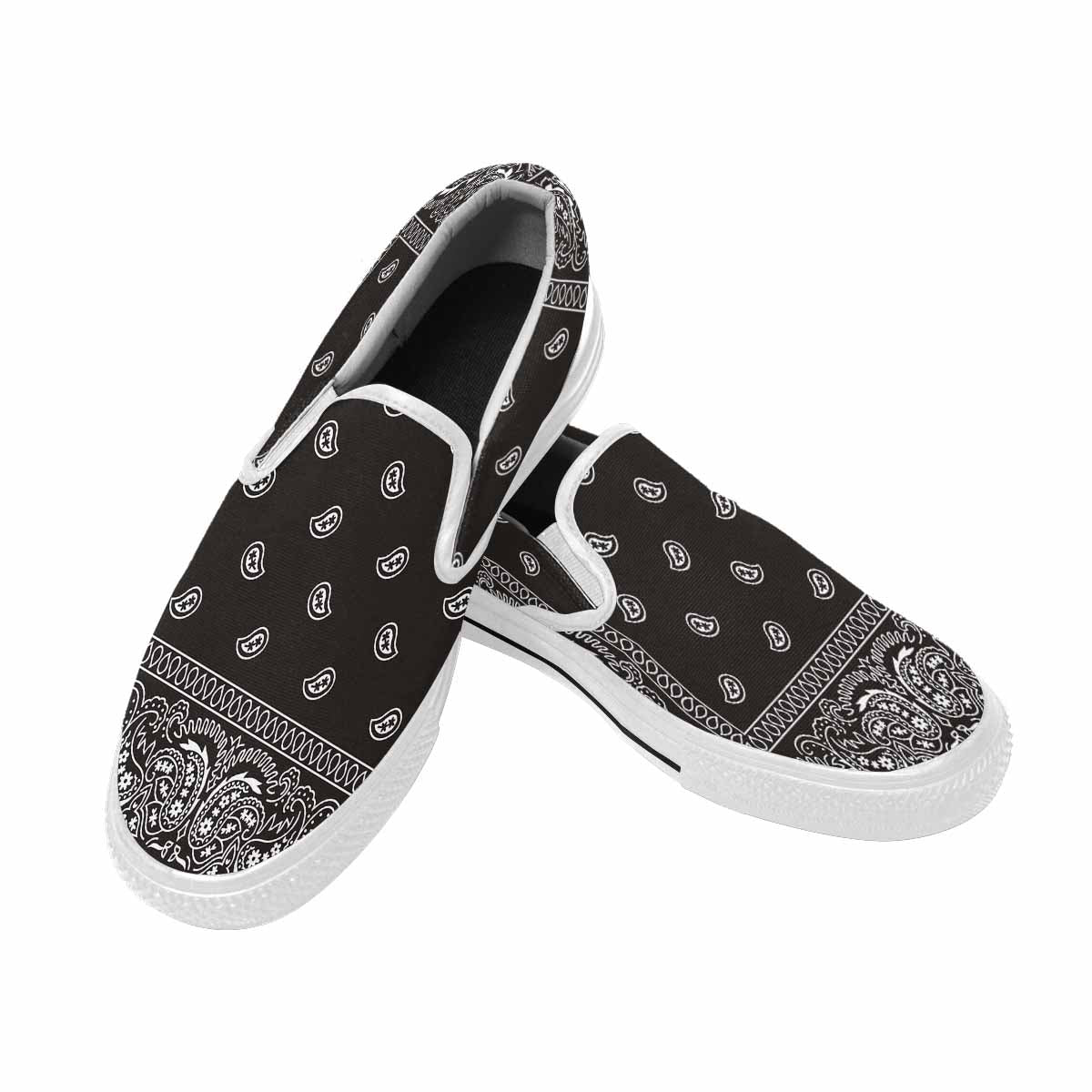 WOMEN'S BANDANA PRINT SLIP-ON VANS - BLACK