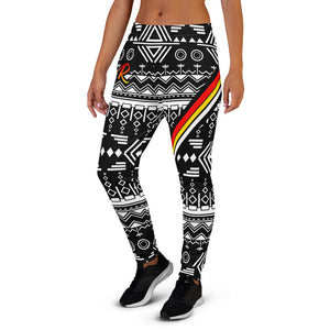 Black Tribal Women's Joggers with Red, Yellow and White accent lines and the R for Rezjitsu on the leg.