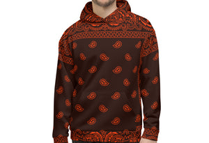 Rezjitsu High Quality Bandana Print Hoodie Red