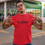 Rezjitsu Old-E Classic T-Shirt - Red with Black Old English Font