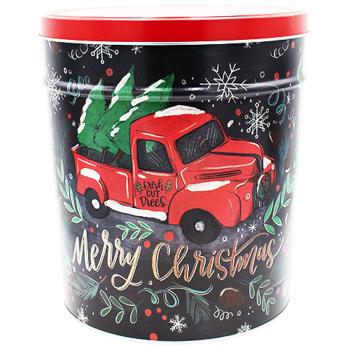 Tree Farm Truck Holiday Tin 6.5 Gallon
