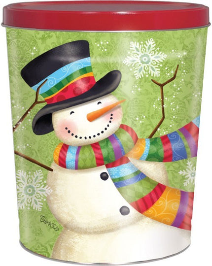 Green Snowman Holiday Tin 6.5 Gallon