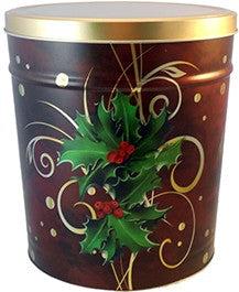 Boughs of Holly Holiday Tin 6.5 Gallon