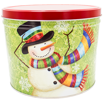 Scarf Snowman Tin 2 Gallon