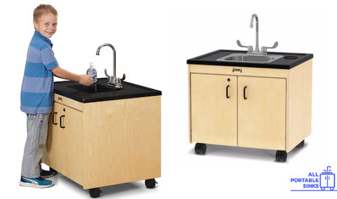 Jonti-craft clean hands helper portable sinks, one with child, one with stainless steel sink