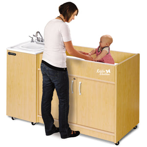 Child diaper changing station with built in portable sink