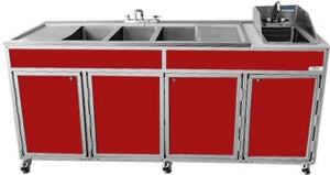 NSF 4 Basin Self-Contained UItensil Washing Sink w/two Drainboards
