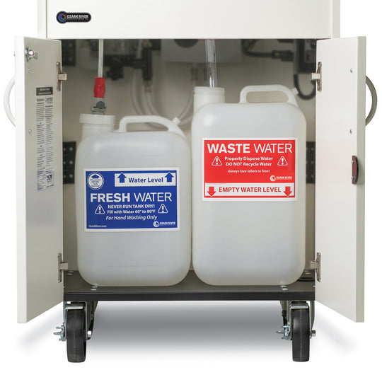 Open portable sink showing fresh and waste water tanks