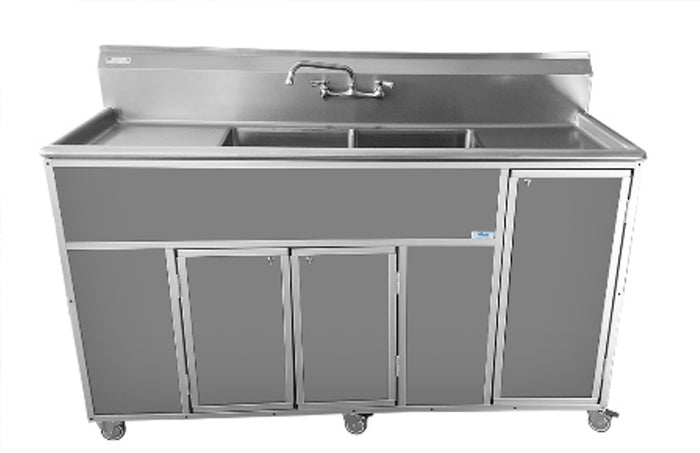 Commercial Grade Double Deep Basins Portable Sink with  Drain Boards by Monsam