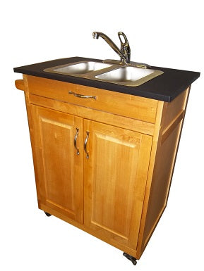 Double basin portable sink with wood cabinet