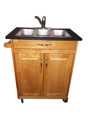 Triple Basin Portable Sink - Dark Maple Wood