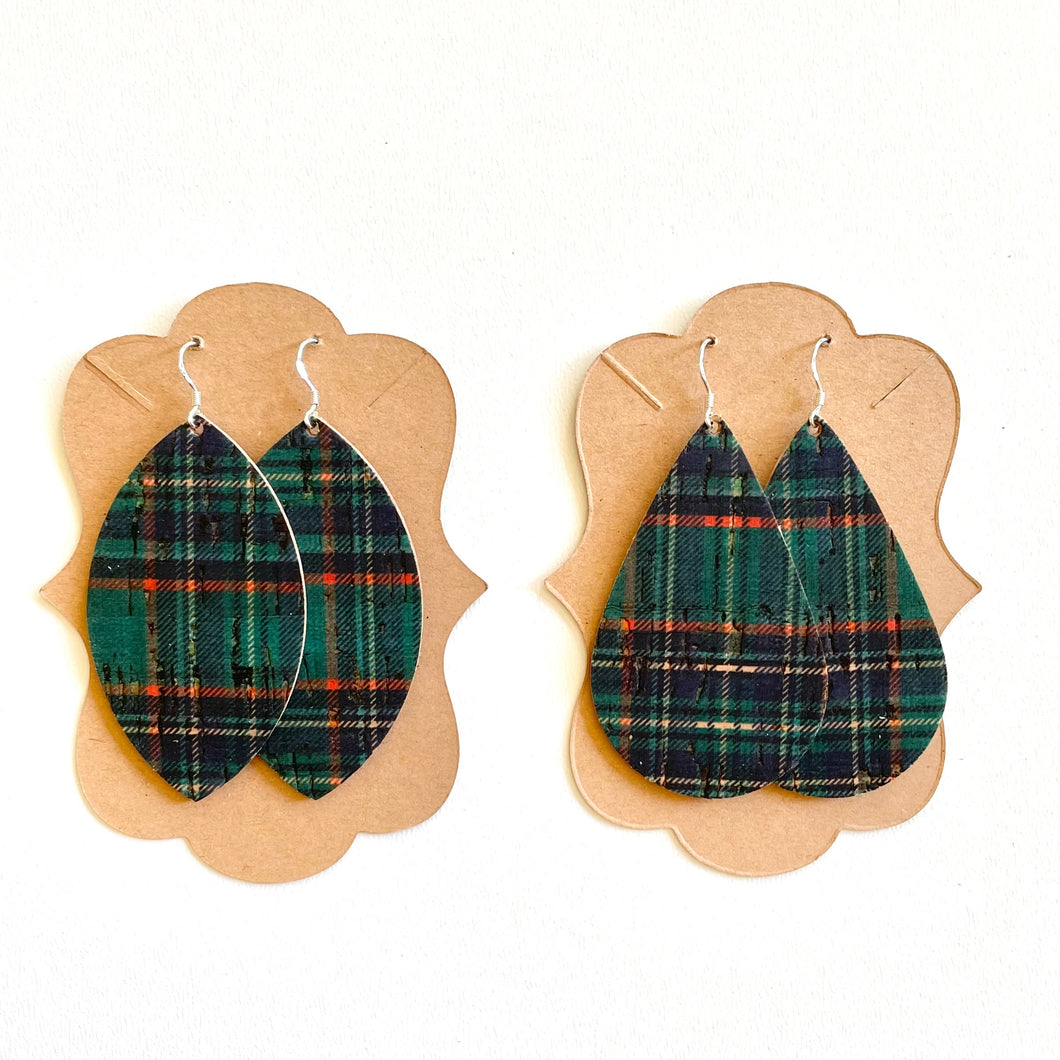 Green Holiday Plaid Cork
