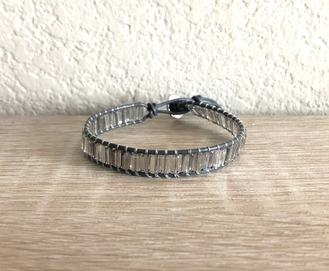 Gray Crystal Leather Wrap