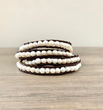Pearl on Brown Leather Wrap