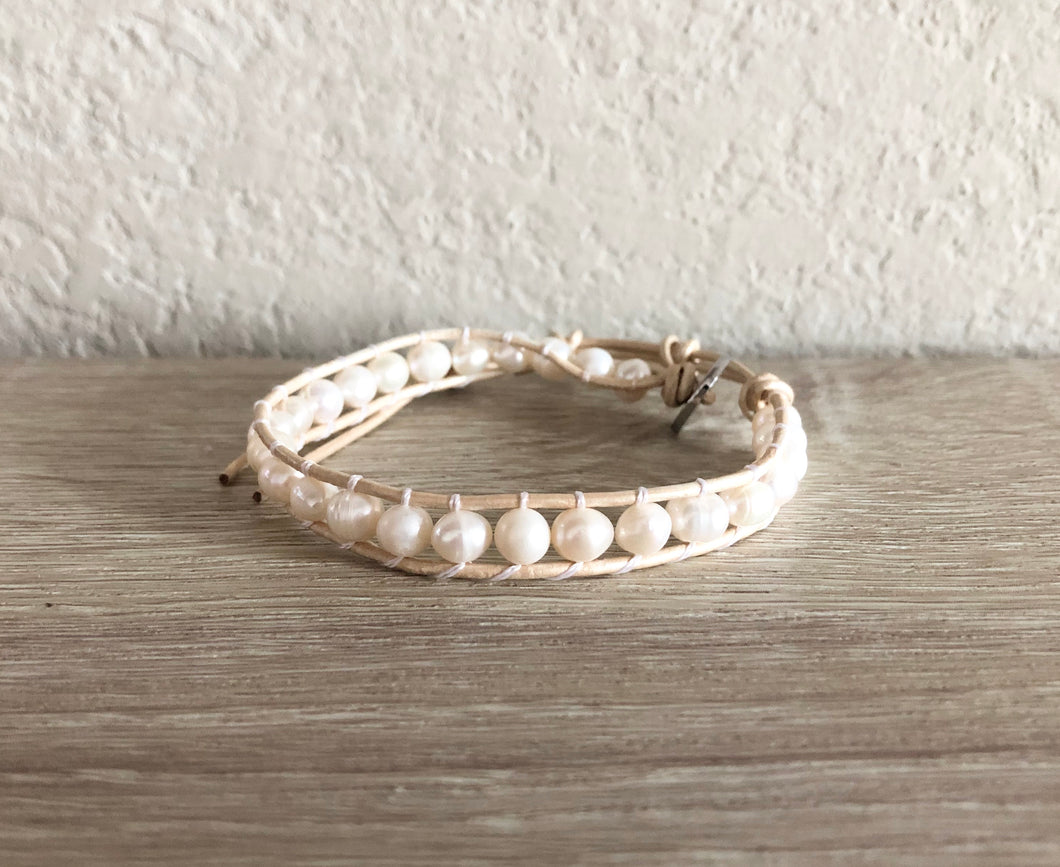 Cream Pearl Leather Wrap