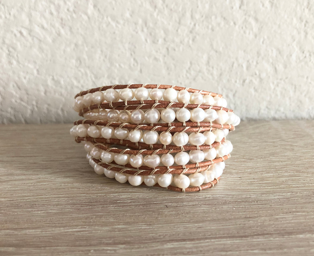 Natural Pearl Leather Wrap