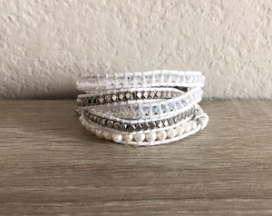 White Crystal Leather Wrap